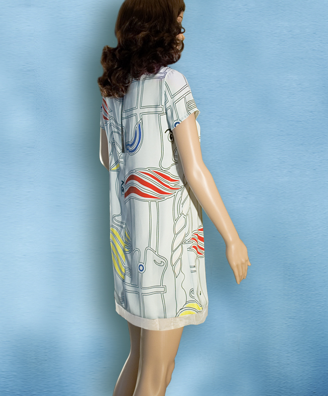 Rochie cu imprimeu grafic colorat abstract