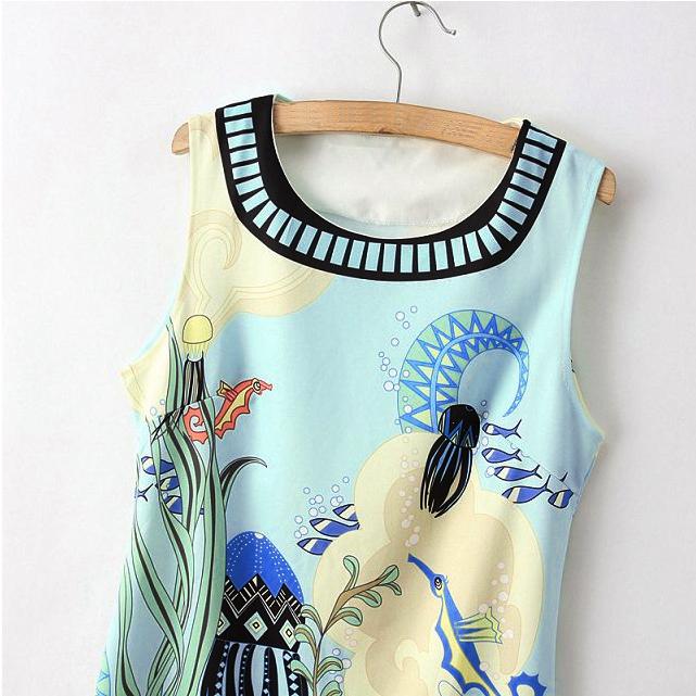 Rochie rochita pentru orice ocazie sau eveniment ori casual cu imprimeu color marin vesel