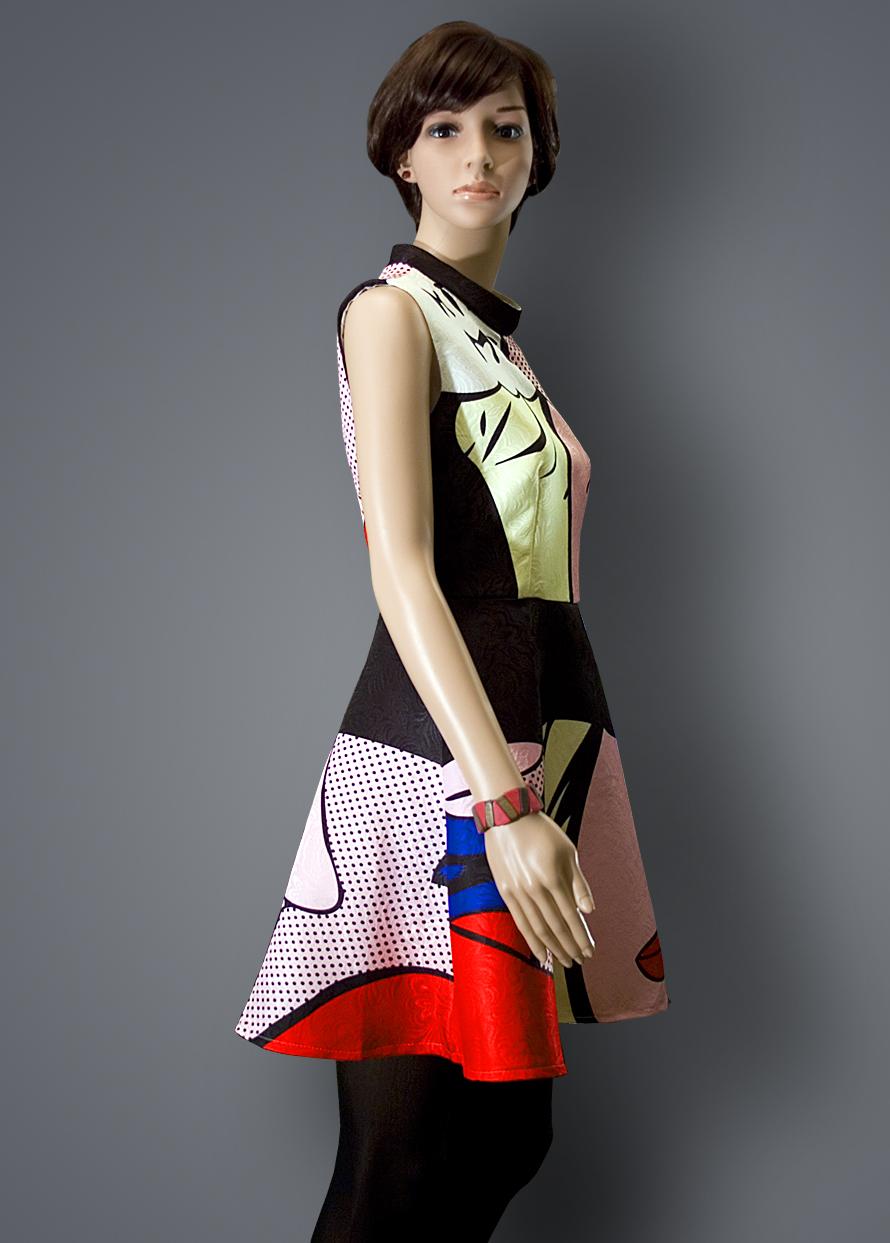 Rochie de ocazie cu imprimeu colorat de inspiratie retro