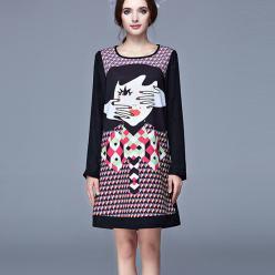 Rochie cu maneci lungi, imprimeu fashion