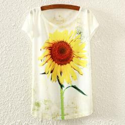 Tricou dame cu imprimeu floral