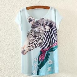 Tricou femei cu imprimeu colorat portret zebra