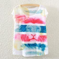 Tricou pentru femei, colorat cu leu colorat