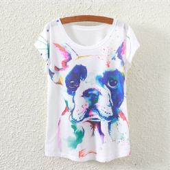tricou pentru femei cu imprimeu color, cap de caine grafic