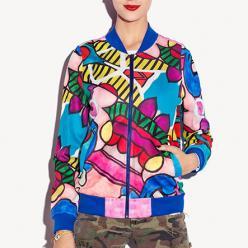 Geaca jacheta pentru femei street wear cu fermoar, cu imprimeu grafic culori vibrante, still baseball