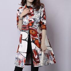 Rochie cu nasturi tip camasa gen jerseu cu imprimeu colorat artistic