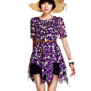 Rochie casual subtire, asimetrica cu imprimeu colorat si dantela plasa neagra violet