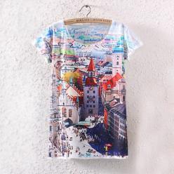 Tricou dame cu imprimeu peisaj urban colorat