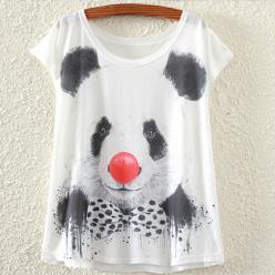 Tricou dame cu imprimeu urs panda bufon