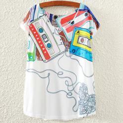 Tricou femei cu imprimeu casete colorate vintage