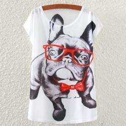 Tricou dame cu imprimeu caine fashion cu ochelari