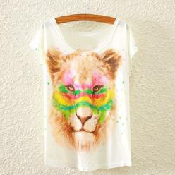 Tricou femei cu imprimeu cap de leu policrom artistic