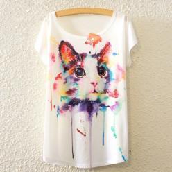 Tricou femei cu prin pisica colorata grafica