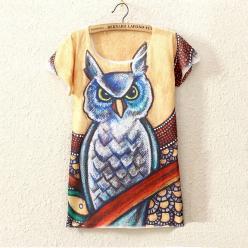 Tricou multicolor cu maneci scurte pentru femei cu imprimeu bufnita