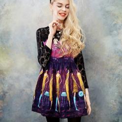 Rochie print multicolor si dantela