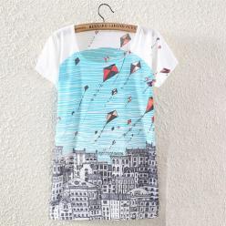 Tricou imprimeu color urban si zmeie