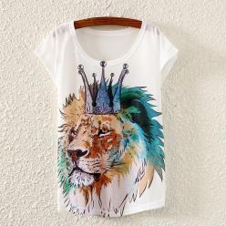 Tricou cu maneci scurte pentru femei cu imprimeu regele junglei