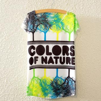 Tricou dame cu maneci scurte imprimeu colors of nature