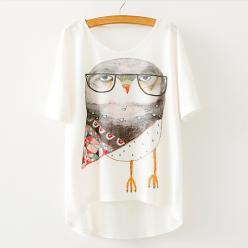Tricou dame cu imprimeu bufnita fashion cu ochelari