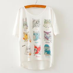 Tricou pentru femei cu imprimeu bufnite fashion