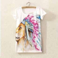 Tricou pentru femei cu imprimeu profil de leu