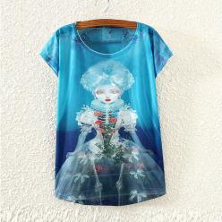 Tricou dame cu imprimeu color albastru