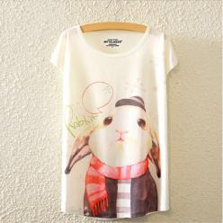 Tricou alb pentru femei cu imprimeu rabbit