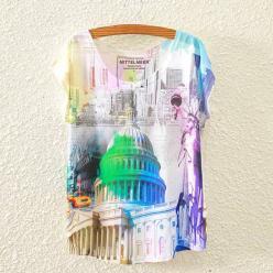 Tricou dame cu imprimeu urban modern colorat