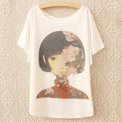 Tricou bluza dame cu imprimeu decorativ portret maneci liliac