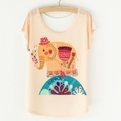 Tricou dame cu print elefant colorat fantezie
