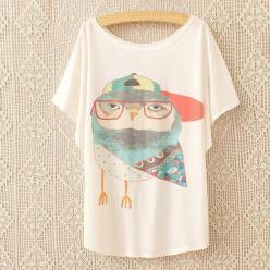 Tricou bluza femei cu imprimeu bufnita colorata cu ochelari maneci liliac