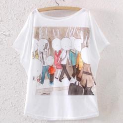 Tricou alb dame cu imprimeu grafic