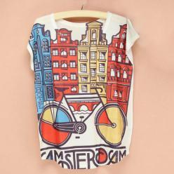 Tricou cu imprimeu colorat urban cu bicicleta