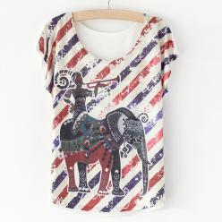 Tricou dame cu imprimeu dungi si elefant