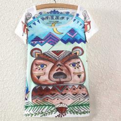 Tricou bluza femei cu imprimeu colorat motive geometrice