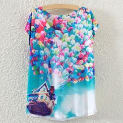 tricou bluza femei cu maneci scurte cu imprimeu colorat baloane