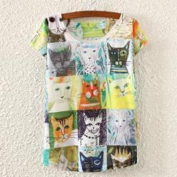 Tricou femei cu imprimeu colorat pisici grafice