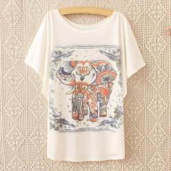 Tricou batwing cu imprimeu elefant maneci liliac