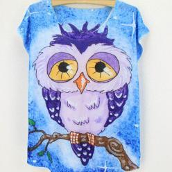Tricou imprimeu bufnita colorata