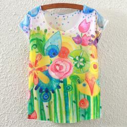 Tricou pentru femei cu print campie flori ludice