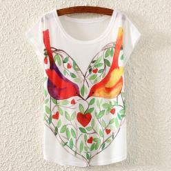 Tricou femei cu imprimeu pasarele, frunze si inimioare