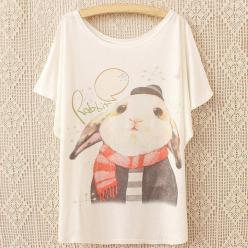 Tricou buza pentru femei cu imprimeu iepure batwing
