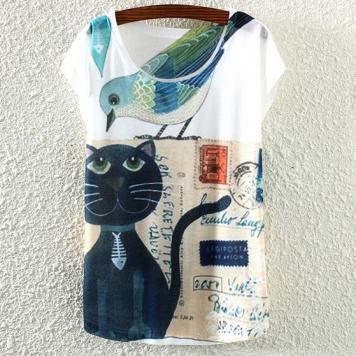 Tricou pentru femei cu imprimeu pisica paravion