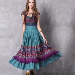 Rochie colorata lunga boho hippie