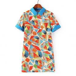 Rochie cu imprimeu geometric colorat