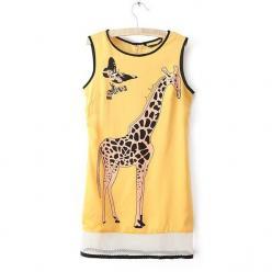 Rochie tip chiffon cu imprimeu girafa si mesh in partea inferioara