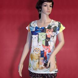 Tricou imprimeu pisici