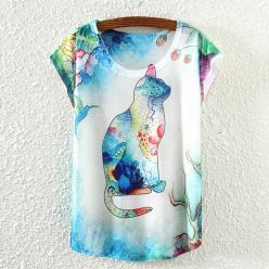 Tricou imprimeu pisica