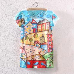 Tricou de dama cu imprimeu peisaj colorat