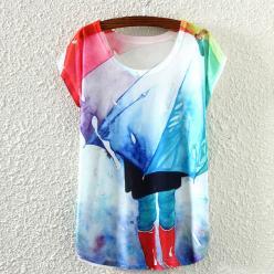 Tricou de dama cu imprimeu color